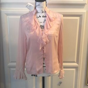 ST. JOHN Silk Pink Long Sleeve Button up with Gold
